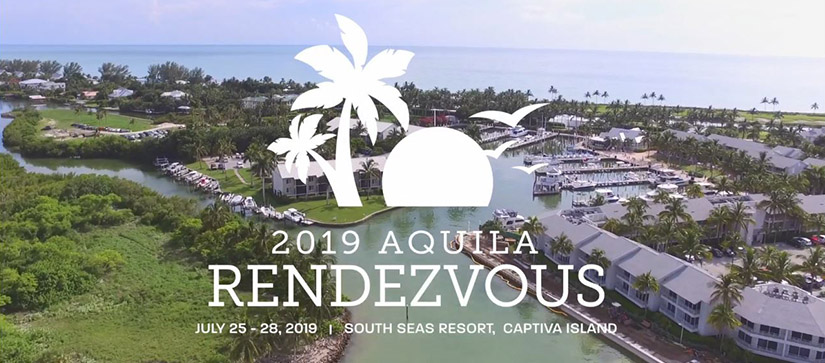 An aerial shot of Captiva Island on a sunny day, with a graphic detailing the 2019 Aquila Rendezvous