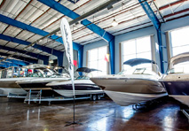 sport boats in the marinemax clearwater store showroom
