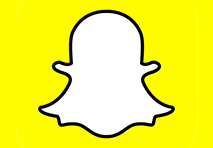 the snapchat logo of a white ghost outline on a yellow background