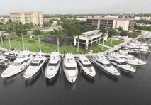 large number of yachts docked at marinemax location