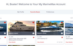 MarineMax My Account Screen