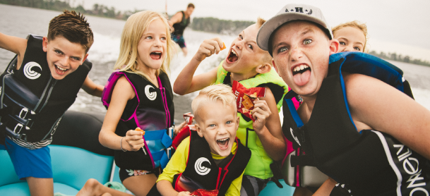 Kids having fun while boating