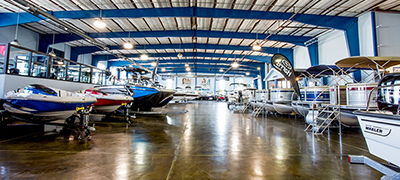 MarineMax showroom warehouse with multiple boats and multiple brands