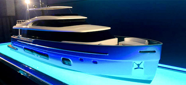 Model of the Azimut S10 with a blue light shining underneath