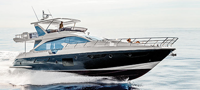 up close Azimut boat running on smooth open water