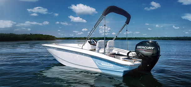 Boston Whaler 130 Super Sport with two tone hull sitting on calm water