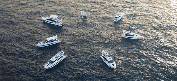A fleet of Galeon Yachts arranged in a circle