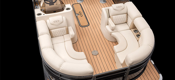 bow of a harris sunliner exhibiting seating arrangement