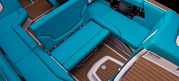 bright blue sea on boat