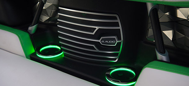 neon green accent on black cup holders