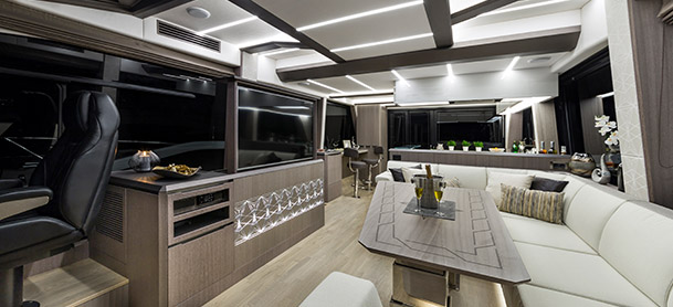 lounge inside yacht