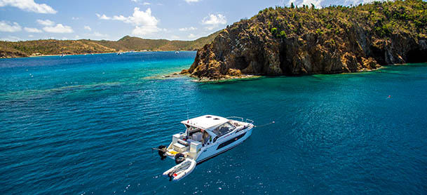 Aerial shot of a boat in the British Virgin Islands