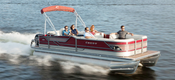 Affordable Crest Pontoon out on the water with people onboard