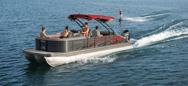 People entertaining on a pontoon boat