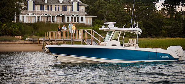 A docked Boston Whaler 330 Outrage