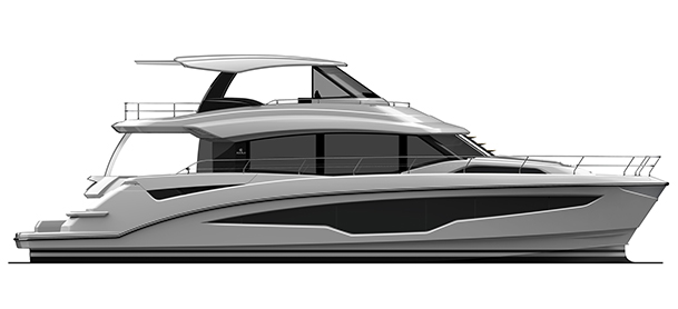 A profile view of a rendering of the Aquila 70 power catamaran in black and white on a white background