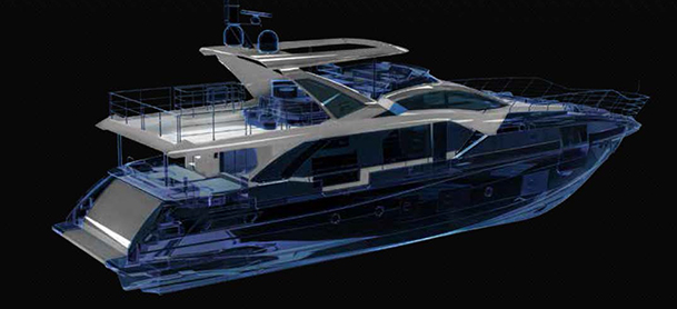 Dark picture of the plan and design of an Azimut Carbon Fiber