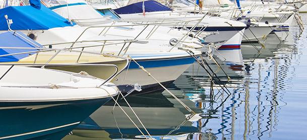 row of boats anchored