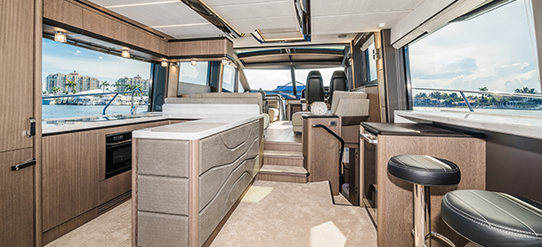 The interior of a Galeon 680 Fly
