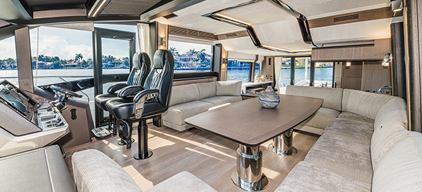 The helm and interior of a Galeon 680 Fly
