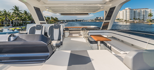 The flybridge of a Galeon 680 Fly