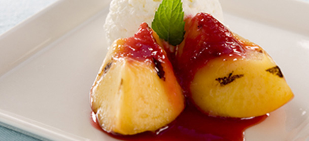 Grilled peaches and raspberries