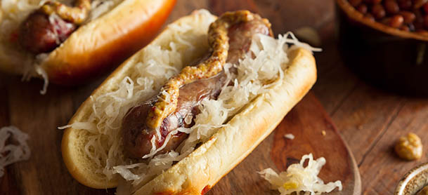 Hot dog with sauerkraut and mustard