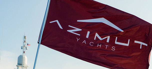 A red Azimut Yachts flag