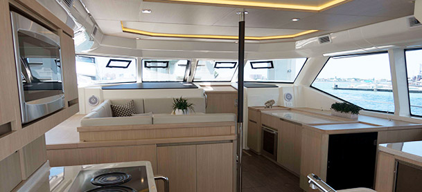 white and cream boat interior