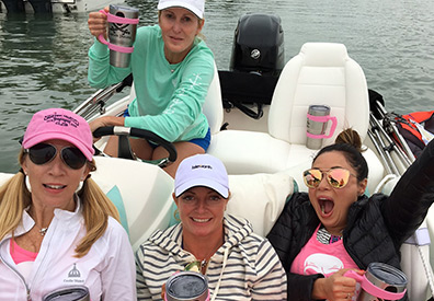Pink Pirates on the Boston Whaler tender.