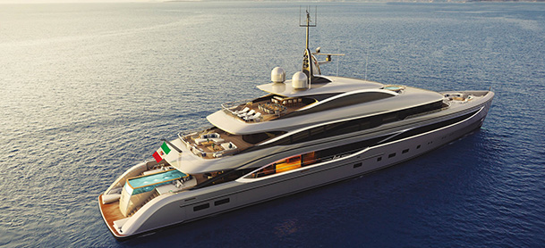 A rendering of a Benetti yacht in open water with the sun shining