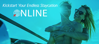 A couple aboard a boat to kickstart the endless staycation online