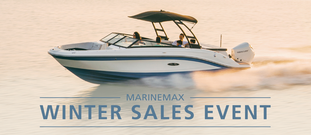 Boat running out on the water during a Winter Sales Event at MarineMax