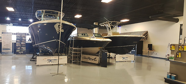 boats in showroom