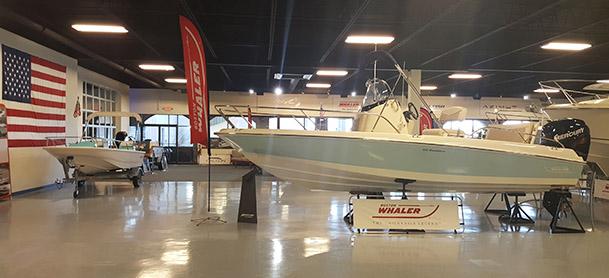 boats in showroom