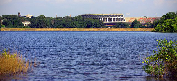 View of Tiger Stadium in Clemson, SC from the water