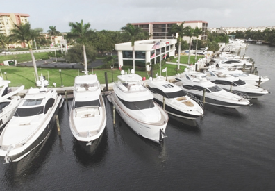 row of yachts docked at marinemax
