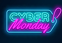 a neon tag with cyber monday written on it over a black background