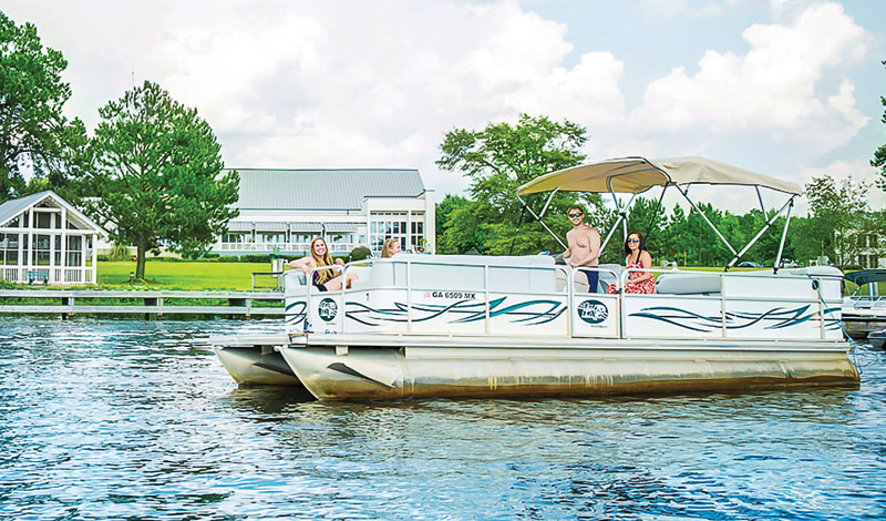 People on Pontoon boat on Lake Blackshear, Cordele, GA