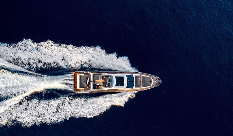 A large yacht in deep blue water