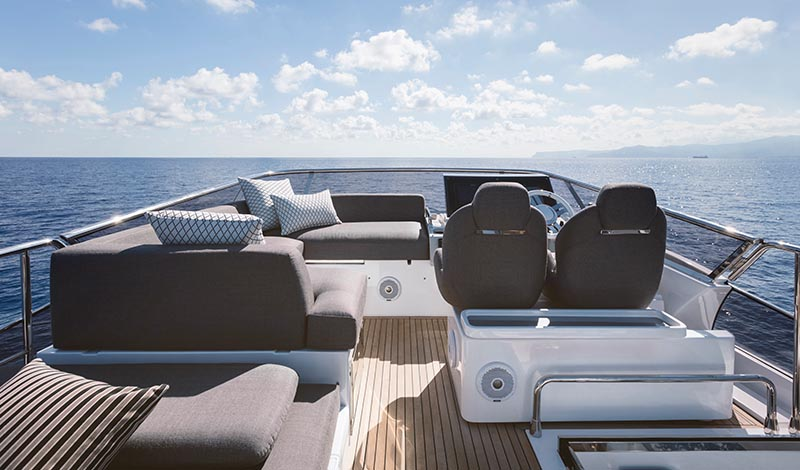 open flybridge of a yacht with lots of seating areas and a helm