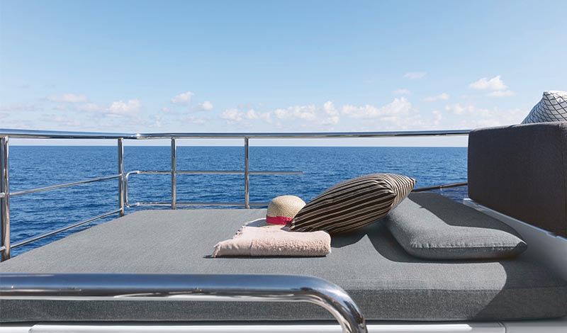 wide open sunpad with pillows