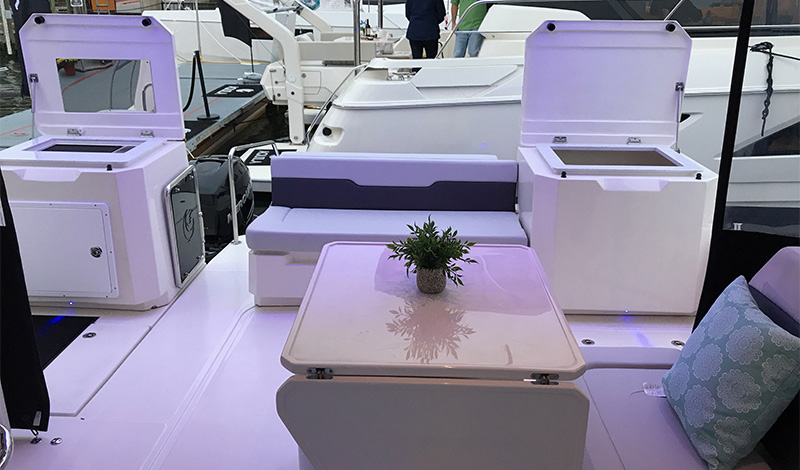 Interior view of the Aquila 36 Fishing and Diving Version
