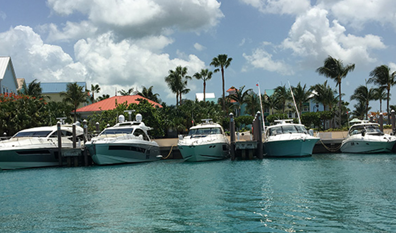 Boats anchored up in the Bahamas