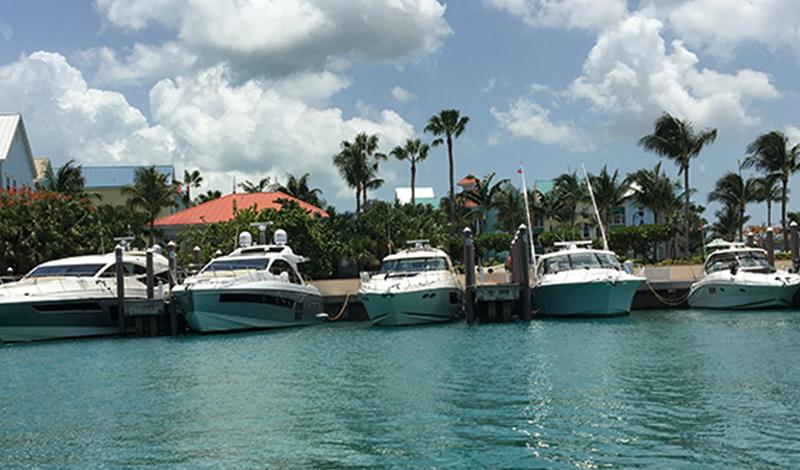 Boats anchored up in the Bahamas