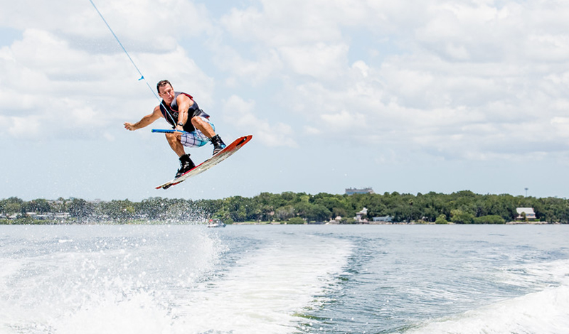 Wakeboarder in the air