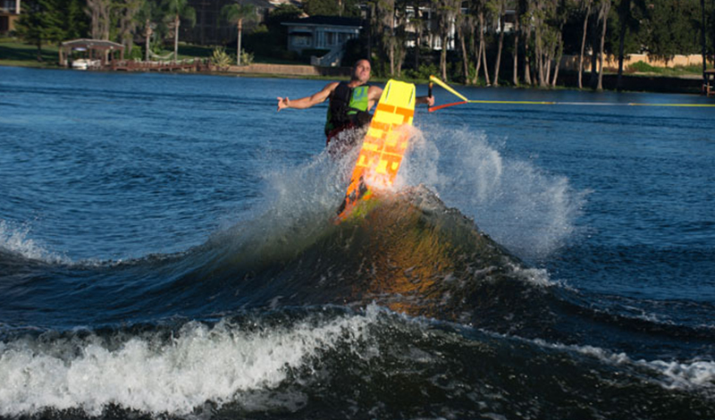wakeboarder doing a double up