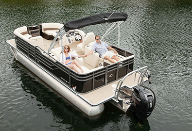 Couple lounging on pontoon