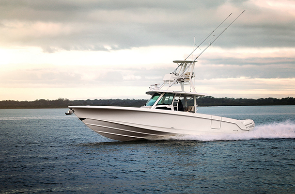 Boston Whaler Outrage cruising through water
