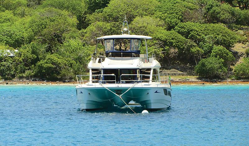 MarineMax Vacations 484 Power Catamaran in the British Virgin Islands water for charter